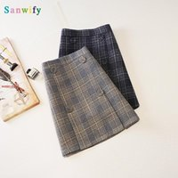 Skirts Half-length Skirt Women's Autumn And Winter 2021 Plaid Woolen A- Line Slim Thickened