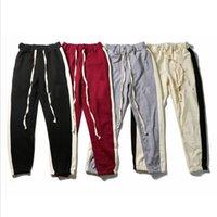Super Correcto Versión Pantalones Niebla Doble Línea Essentials Bieber Mismos Dos Color Costura Primavera Y Pantalones de verano Moda