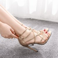 Sandals Female high-heeled gladiator sandals, open-toed sexy women's shoes, high heels, thin-ankle straps, wedding sandals. H7U2