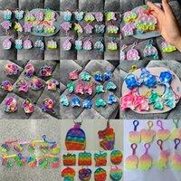 Llavero fidget juguete empuje empuje la joyería sensorial llavero llavero burbuja dibujos animados simples juguetes de hoyncillo llaveros Todos los puntos al por mayor
