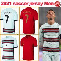 # 7 Ronaldo Futbol Forması 2021 # 11 B.Fernandes Ev Kırmızı Futbol Gömlek 2021/2022 # 23 Joao Felix Uzakta Yeşil Erkekler Futbol Üniforma Satışa