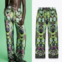 PSEEWE ZA verde vita alta vita pantaloni vintage stampa elastico donna sciolta donna pantaloni streetwear