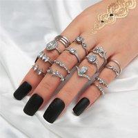 Vintage zilveren mix size ringen sets voor vrouwen Boheemse geometrische ringen 15pcs / set cz zirkoon trouwring set