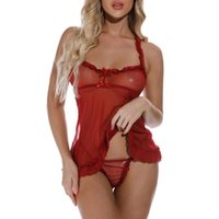 Bras Sets Fashion Women Sexy Solid Colors See-through Lace Wireless Lingerie G-String Underwear Bow Nightdress Pajamas Set Sleepwear#p3