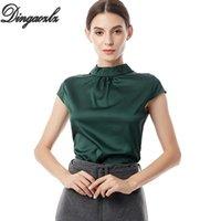 Camicette da donna Camicie Dingaozlz S-5XL 2021 Ufficio Lady Shirt Women Blusa Colore solido Plus Size Manica Corta Top Summer Blusa
