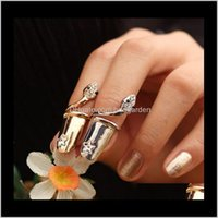 Band Rings Jewelry Drop Delivery 2021 Exquisite Cute Retro Queen Dragonfly Design Rhinestone Plum Snake Gold/Sier Ring Finger Nail Rings-P By