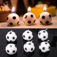 6Pcs Set Cute Soccer Ball Football Candles For Birthday Party Kid Supplies Decor Wedding Garden Decoration Cake