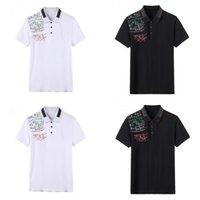 21SS Polo Chemises Imprimer Stripe Stripe Lettres Mens T-shirts Mode Vêtements Courtes À manches courtes Calssique Tshirt Noir Blanc Entreprise Blanc Casual Taille: m