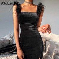 Ashaily Sexy Velvet Dress Donne Donne Senza maniche Abito Solido Piume Bodycon Vestiti Party Club Outfits Femme 210630