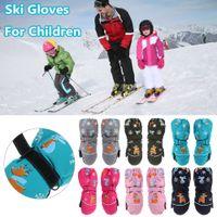 1Pair Cartoon Children Ski Gloves Long-sleeved Mittens Winter Windproof Waterproof Thick Warm Non-slip Deer Rabbit 2-6 Years Old