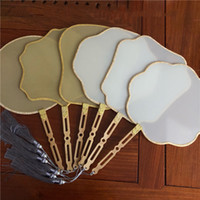 DIY White Blank Natural Chinese Silk Hand Fan with Pierced Bamboo Handle Women Costumes Dance Accessories Home Decoration Traditional Crafts Gifts