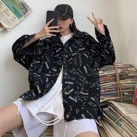 Women's Jackets Harajuke Denim Jacket Women Autumn Hip Hop Streetwear Vintage Print Oversized Loose Jeans Coat Black Blue 2021 Outwear