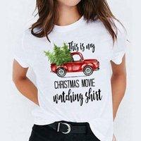 Women's T-Shirt Women Cartoon Truck Movie Watching Holiday Happy Print Graphic Female T Shirt T-shirts Merry Christmas Womens Tee Tees