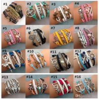 Infinity Charm Bracelets Braided Leather Handmade Bracelet Fashion Leather Bracelets Multilayer Jewelry