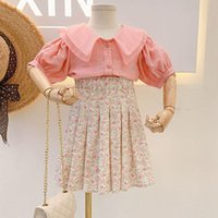 Clothing Sets 2021 Summer Girls' Lace Lapel Tops+Floral Pleated Skirt 2Pcs Suit Princess Toddler Baby Kids Children Clothes