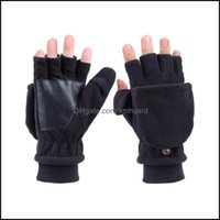 Protective Gear Cycling Sports & Outdoorscycling Gloves Adt Er Half-Finger Stick Tape Thicken Warm Windproof Outdoor Miwith Button - Men (Bl