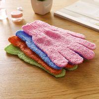 Großhandel Feuchtigkeitsspendende Spa Hautpflege Tuch Bad Handschuh Fünf Finger Peeling Handschuhe Gesicht Körper Baden Durable Weiche Handschuhe 682 S2