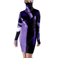 Casual Dresses Tie Dye Mini Woman Tight Dress With Mask Dust-Proof Long Sleeve Straight Turtleneck Streetwear Fashion Clothes