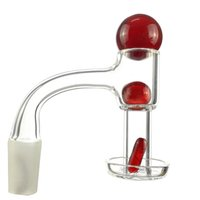 20mm OD Flat Top Terp Slurper Smoking Quartz Banger With Pill Glass Marble Ruby Pearls 45&90 Nails For
