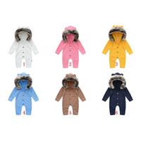 Baby hooded Rompers Fur collar Jumpsuits Plain Bodysuits long sleeve Babies Jumpsuit Clothes M3853