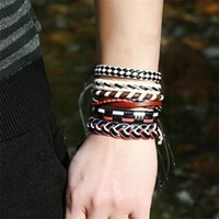 Fashion Stainless Steel Charm Men Bracelet Magnetic Clasp Braided Mutilayer Leather Wrapping Punk Rock Bangles Man Jewelry Gift Bracelets