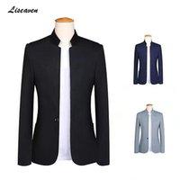 Ternos masculinos Blazers Liseaven Blazer 2021 Stand Collar Jaquetas Homens Slim Single Button Plus Size 5XL Mens Jaqueta Preto