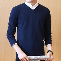 Men's Sweaters Varsanol Knitted Men Cotton V Neck Longsleeve Pullovers Outwear Man Winter Warm Solid Clothing Oversized Pull Homme