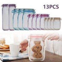 Storage Bags 13pcs Reusable Mason Jar Bottles Nuts Candy Cookies Bag Zipper Sealed Kitchen Organizer Fresh Food