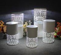 Redonda luz 5 pcs riser ferro branco led cilindro plinto festa de exposição pedestal decoração de casamento