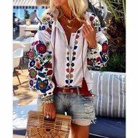 Женщины мода элегантный длинный фонарик рукав цветок хлопчатобумажная льняная кнопка рубашка блузка туника топы национальные особенности блузки пляжный носить x0521