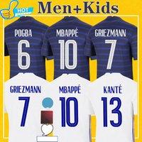 Maillots france França mbappe futebol jersey giroud grisezmann kante pogba 2021 casa longe 20 21 camisa de futebol men + kit kit kit