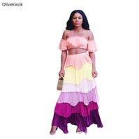 Zwei Stück Kleid Olivekwok Sommer Plus Größe Sexy Frauen Set Trägerlosen Backless Tops Chiffon Plissee Kuchen Maxi Rock Anzug JN02