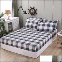 Sheets Bedding Supplies Textiles Gardensheets & Sets Design Fashion Dark Gray Light Grey Home Bed Er Fitted Sheet King Queen Single 90*200*3