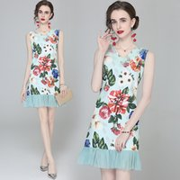 Trend Girl Dress Sleeveless Boutique Lace Ruffle Dress Summer Vest Dresses Fashion Casual Lady Floral Dresses
