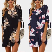 2021 Summer street fashion mid sleeve print lace up round neck dress women 0804 0805 polyester Big size S-5XL