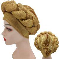 Rhinestone Turban Africain Femme Glitter Elástico Musulmán Hijab Bonnet Mujer Cabeza Wraps Braids Turbante Mujer Gele Gele Ropa étnica