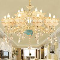American K9 Crystal Lampadario Led LED Luce Europea I lampadari di cristallo Romantico Lampadari Le luci possono essere lampada da soffitto Home Illuminazione per interni 3 colori dimmerabile
