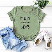 T Shirt Mom Van Jongens Brief Print Vrouwen Korte Mouw o Hals Losse Tee Dames Zomer Tops Camisetas Mujer