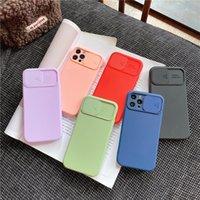 Camera Slide Cover Phone Cases For iPhone 7 8 Plus X Xr Xs 11 12 13 Mini Pro Max Casing Silicone Rubber Soft Matte Finish Anti Fingerprint