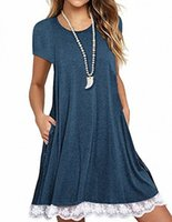 Sanifer Womens 긴 소매 면화 레이스 T 셔츠 포켓 F91J와 드레스 #