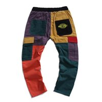 Mens corduroy colorblocked calças moda tendência tendência lateral lateral painel lápis calça masculino casual bolso elástico calças cintura elástica