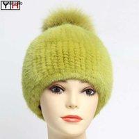 New Style Genuine Cappello Lady Elevata elasticità a doppia faccia a maglia Cappello reale inverno caldo 100% Cappelli in pelliccia naturale1