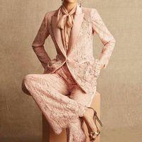 Two Piece Dress HIGH QUALITY Winter Fashion 2021 Designer Runway Suit Set Women's Single Button Lace Blazer Pants