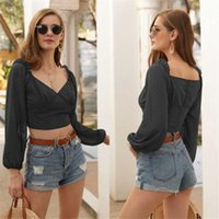 Women Sexy Long Sleeve V-neck Ruched Tops Ladies Fashion Solid Color Blouses Shirts Loose Streetwear Women's &