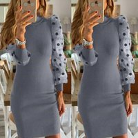 Womens Lantern Sleeve Dress Office Ladies Polka Dot Puff Bodycon Slim Fit Mini Party Casual Holiday Formal Dresses