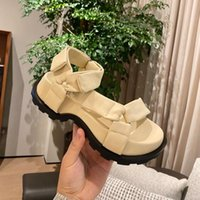 Sandals Women Chunky Sole Round Open Toe Flat Green Buckle Leather Casual Beach Summer Shoes Mujer