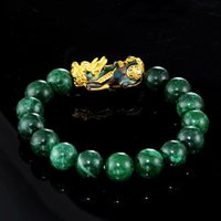 Feng Shui Green Jades Piedra Pulsera Pulsera Hombres Mujeres Unisex pulsera oro negro pixiu riqueza y buena suerte con cuentas, hebras