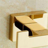Gancho de toalha de ouro cobre casaco duplo gancho liga de zinco revestimento de ouro cabide de parede toalha de banheiro roupão para acessórios 378 R2