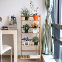 Estante de bambú de 4 niveles, estante de soporte de plantas en forma de escalera multifuncional, estantes de almacenamiento de libros, color natural