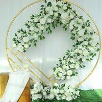 زهور الزهور الزخرفية النمط الأوروبي الزفاف زهرة الصف الديكور الاصطناعي طويل من خلفية القوس تخطيط الحرير في الهواء الطلق